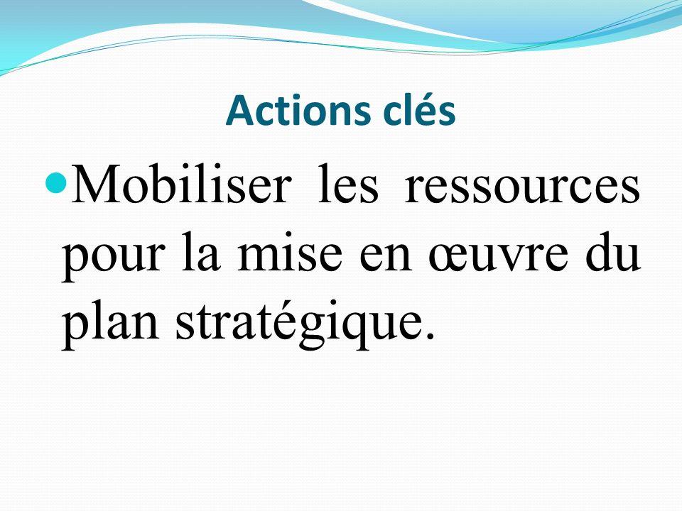 Mobiliser les ressources pour la mise en œuvre du plan stratégique.