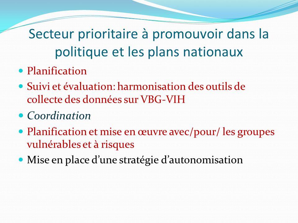 Secteur prioritaire à promouvoir dans la politique et les plans nationaux