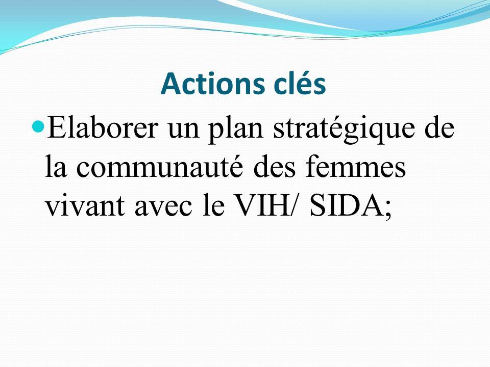 Actions clés Elaborer un plan stratégique de la communauté des femmes vivant avec le VIH/ SIDA;