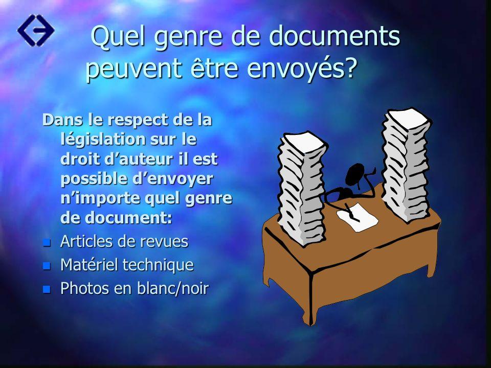 Quel genre de documents peuvent être envoyés
