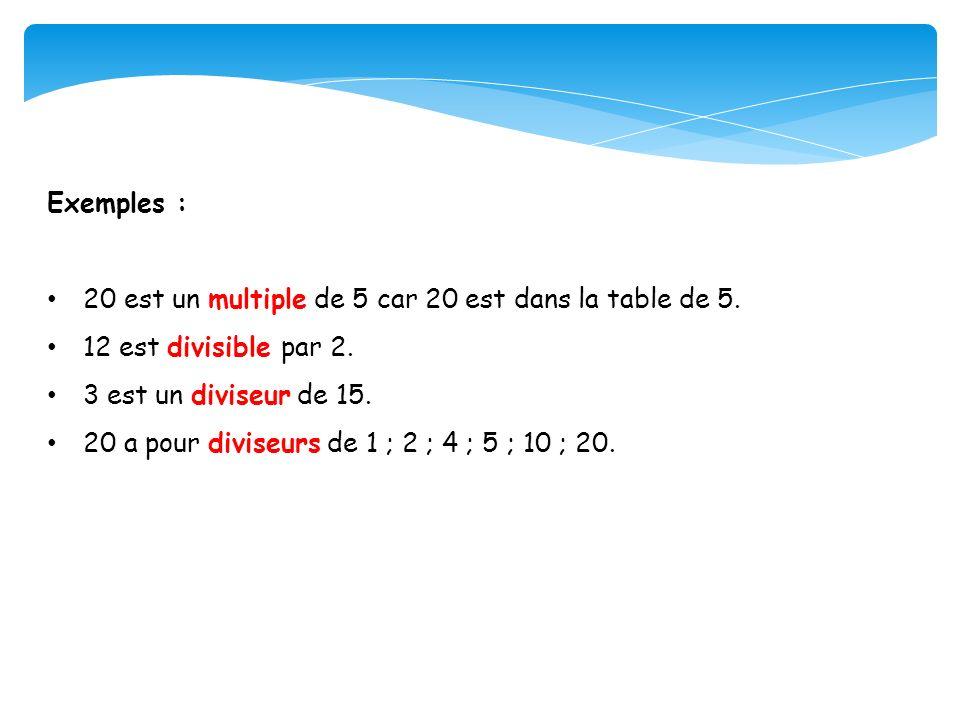 Exemples : 20 est un multiple de 5 car 20 est dans la table de 5. 12 est divisible par 2. 3 est un diviseur de 15.