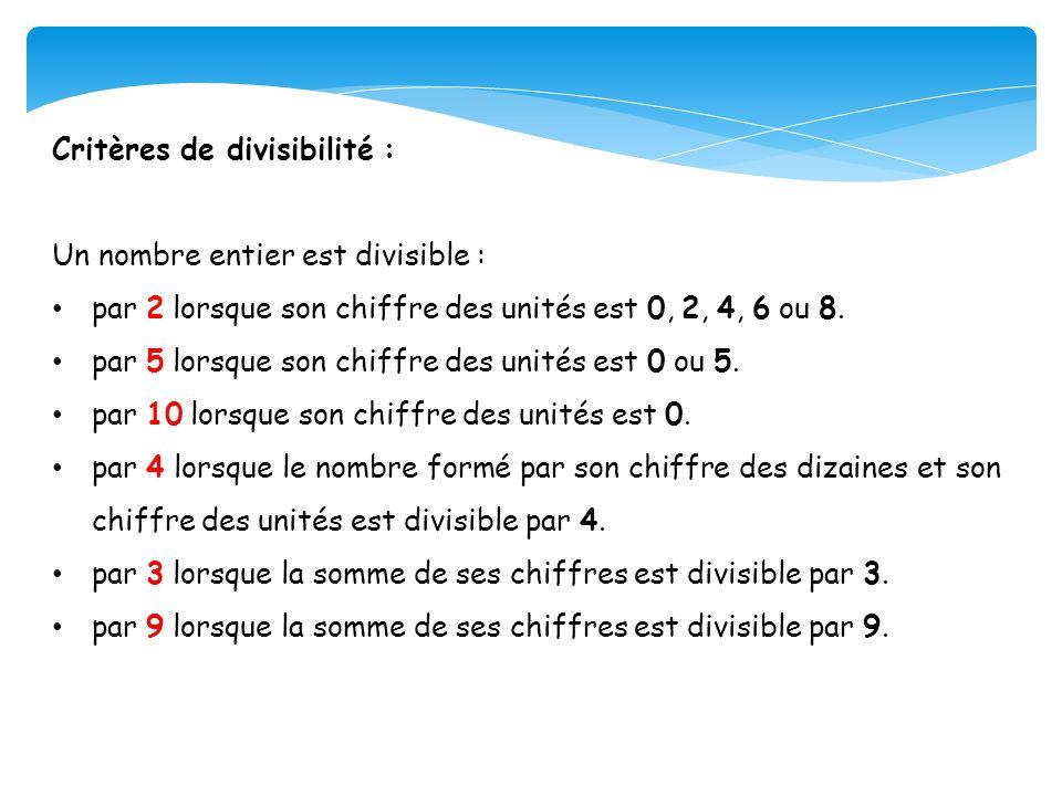Critères de divisibilité :