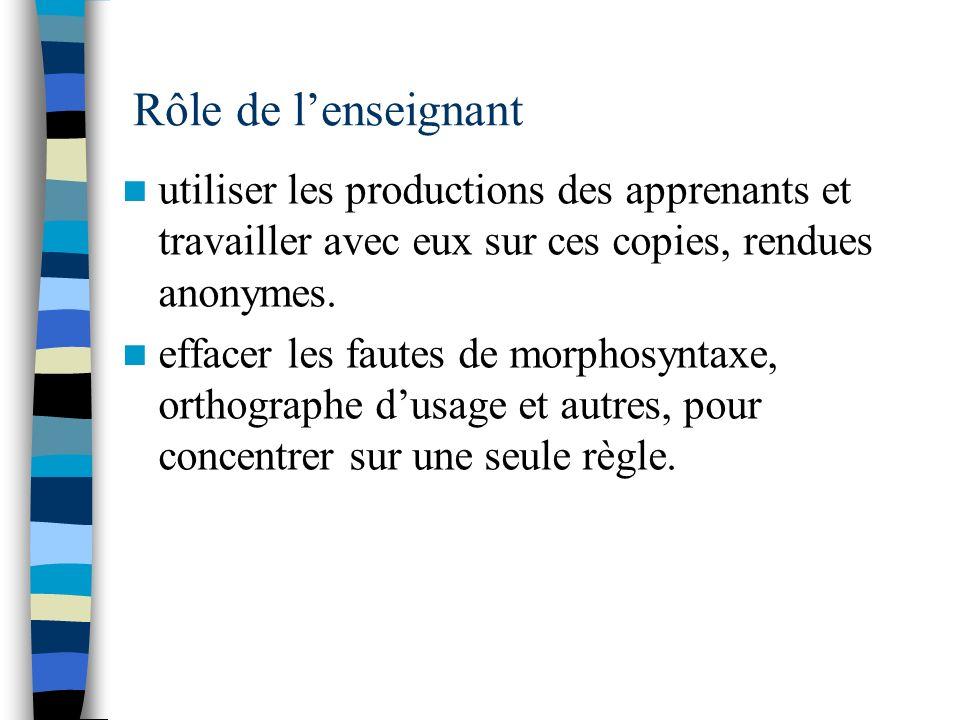 Rôle de l'enseignant utiliser les productions des apprenants et travailler avec eux sur ces copies, rendues anonymes.