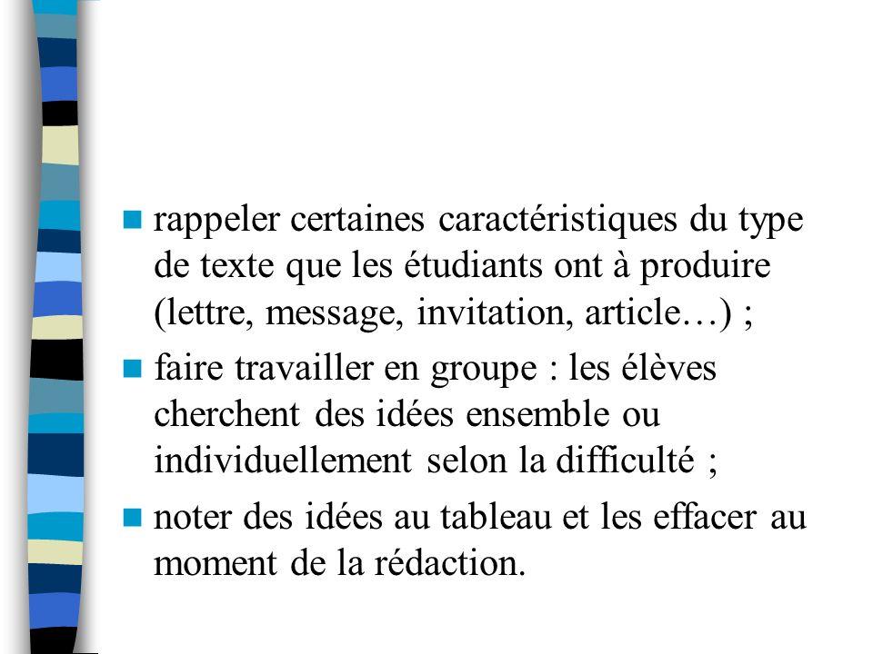 rappeler certaines caractéristiques du type de texte que les étudiants ont à produire (lettre, message, invitation, article…) ;