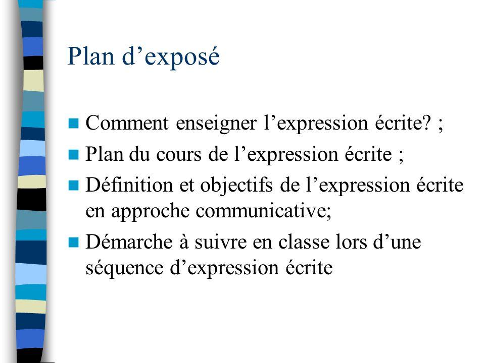 Plan d'exposé Comment enseigner l'expression écrite ;