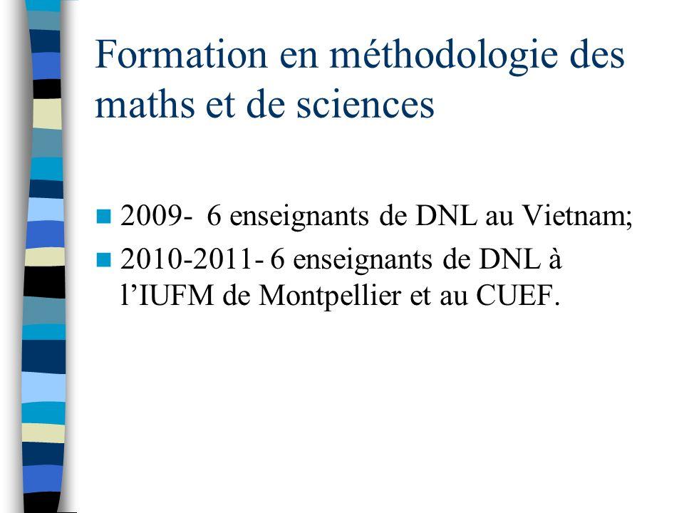 Formation en méthodologie des maths et de sciences