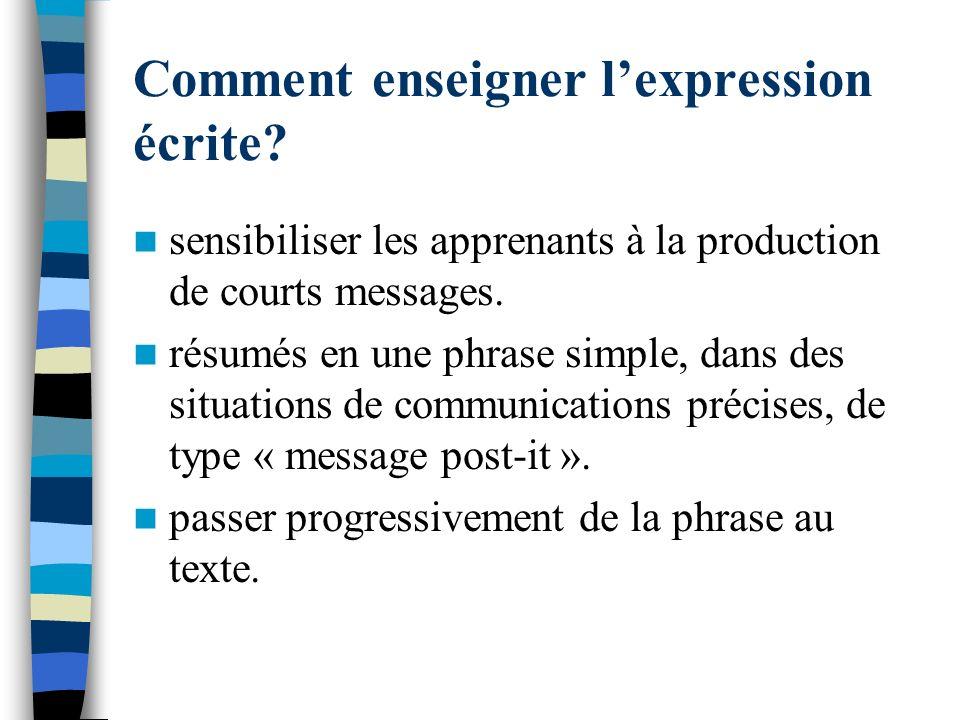 Comment enseigner l'expression écrite