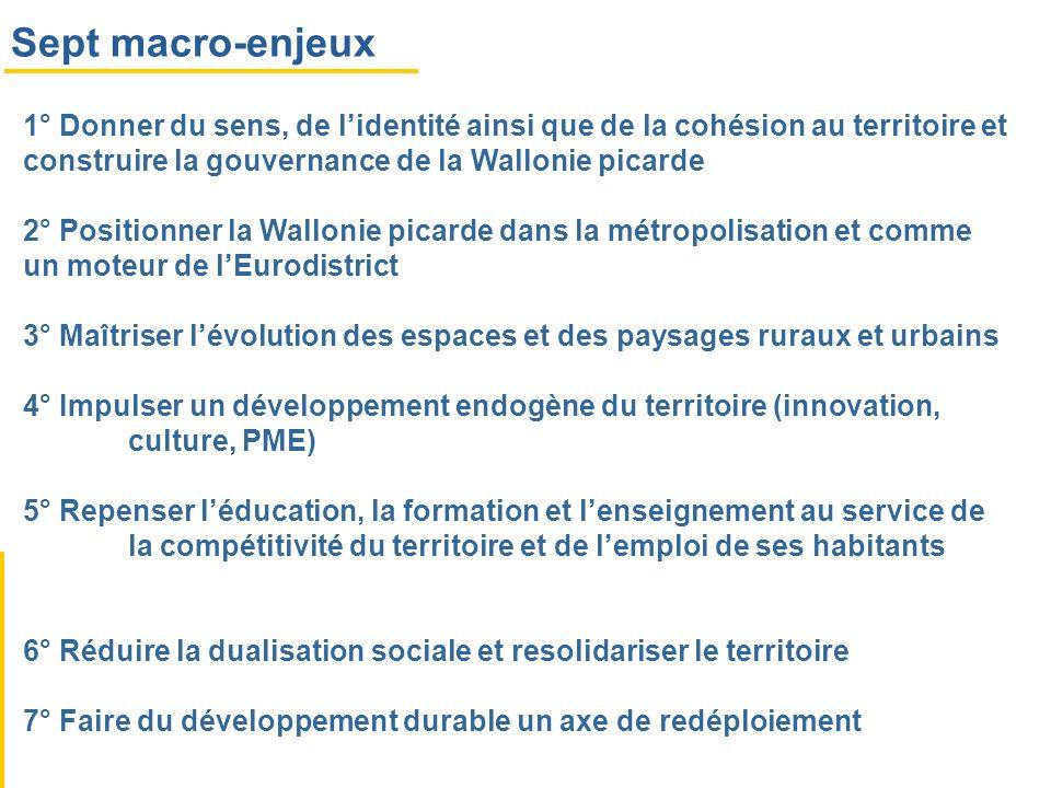 Sept macro-enjeux 1° Donner du sens, de l'identité ainsi que de la cohésion au territoire et construire la gouvernance de la Wallonie picarde.