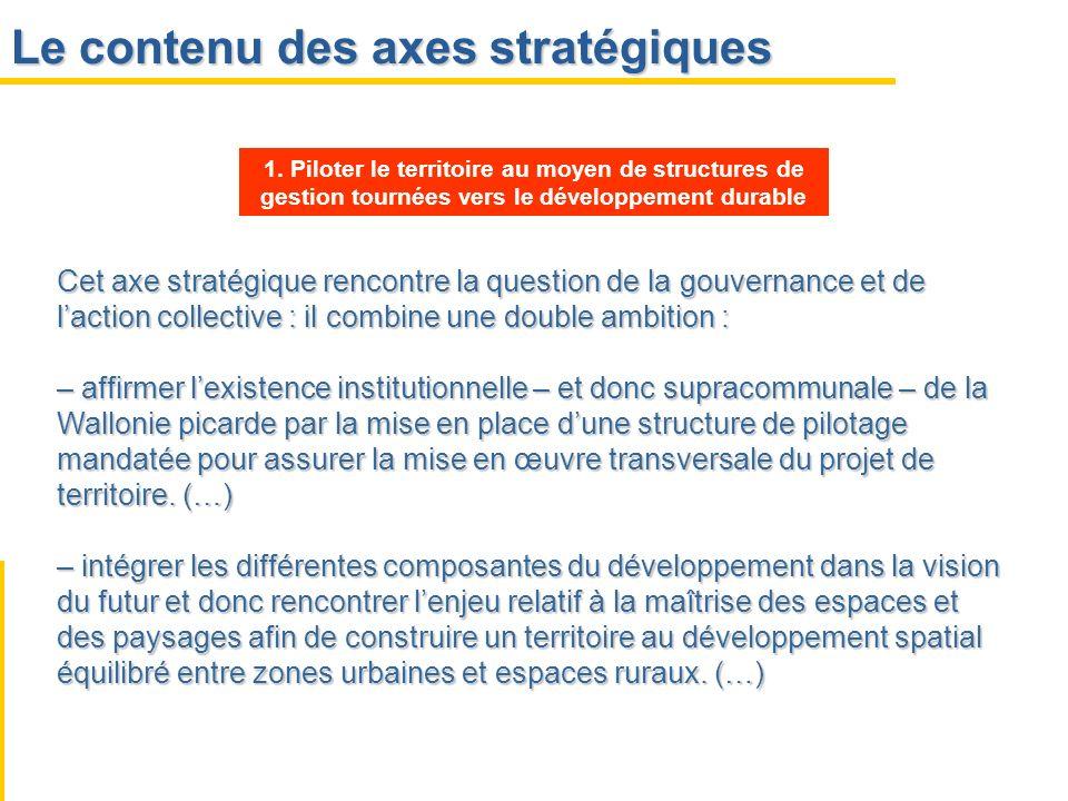 Le contenu des axes stratégiques