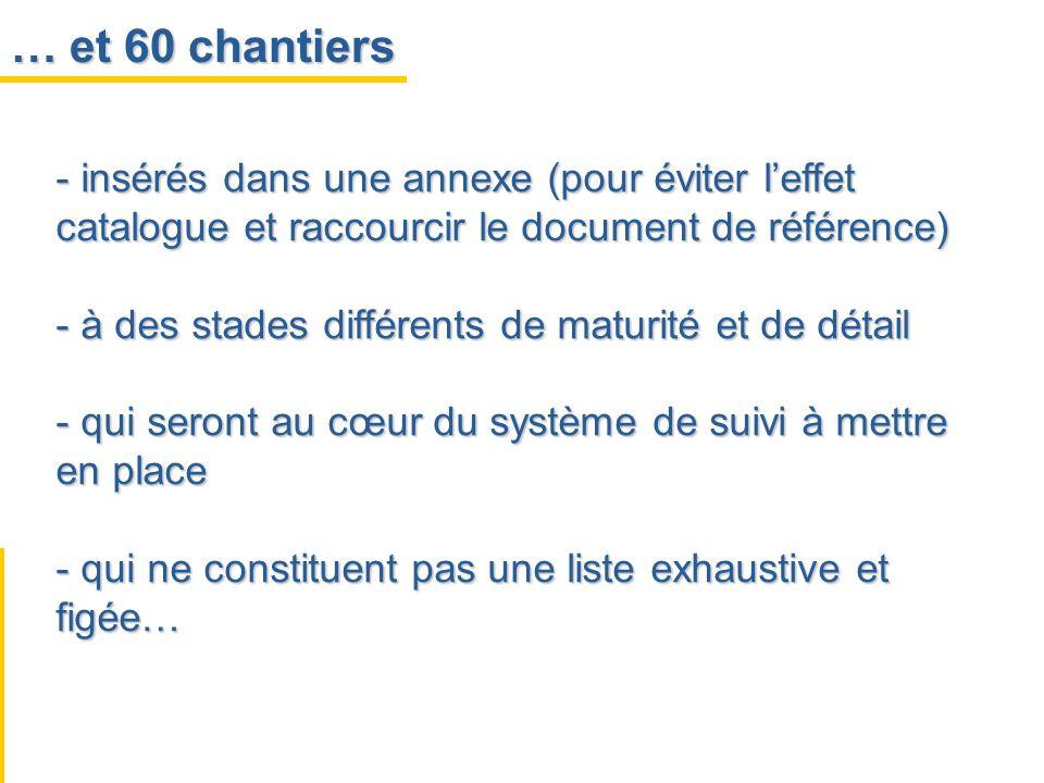 … et 60 chantiers insérés dans une annexe (pour éviter l'effet catalogue et raccourcir le document de référence)