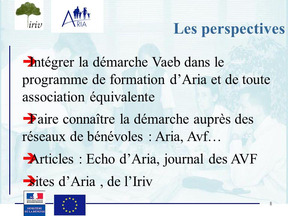 Les perspectives Intégrer la démarche Vaeb dans le programme de formation d'Aria et de toute association équivalente.