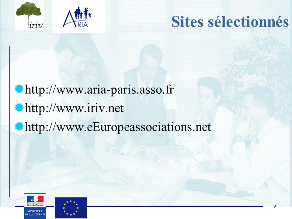 Sites sélectionnés http://www.aria-paris.asso.fr http://www.iriv.net