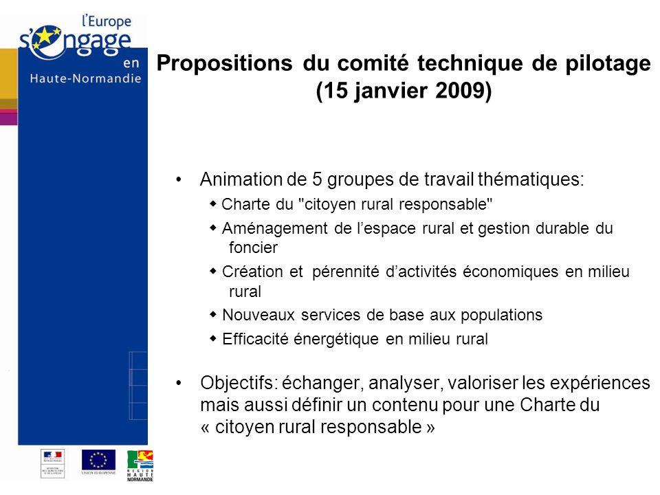 Propositions du comité technique de pilotage (15 janvier 2009)