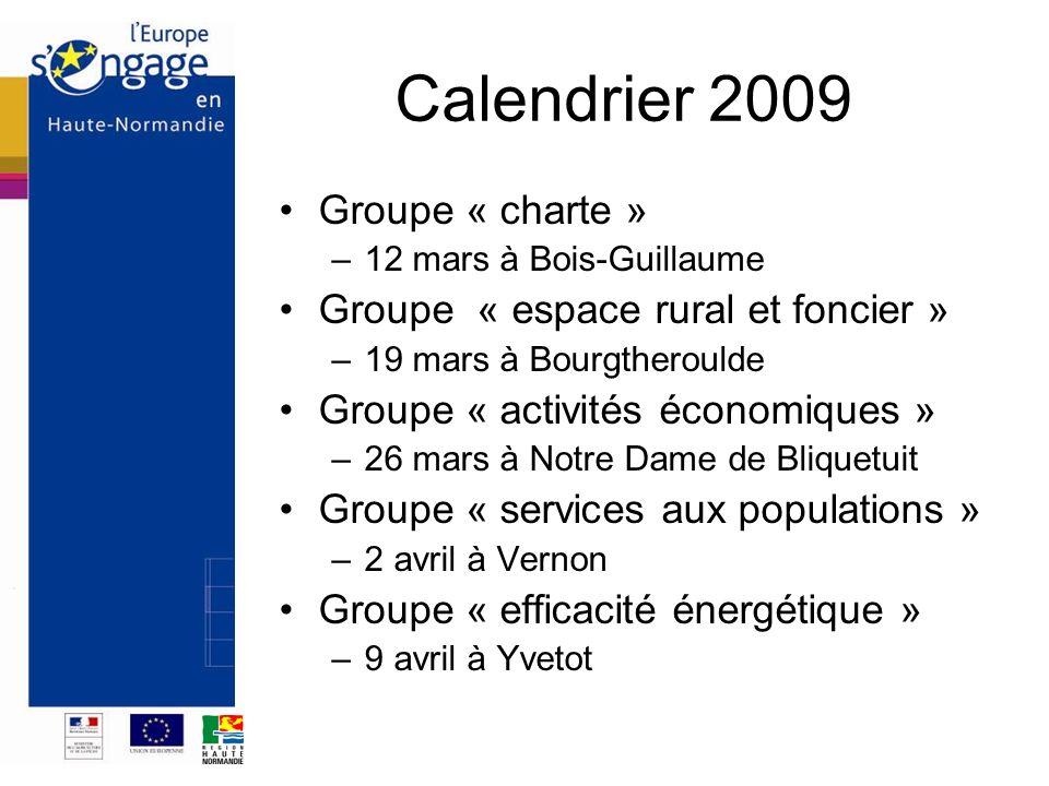 Calendrier 2009 Groupe « charte » Groupe « espace rural et foncier »