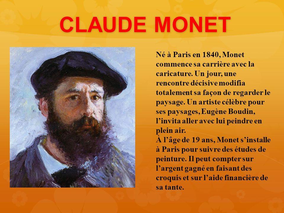 Claude monet n paris en 1840 monet commence sa for Biographie claude monet