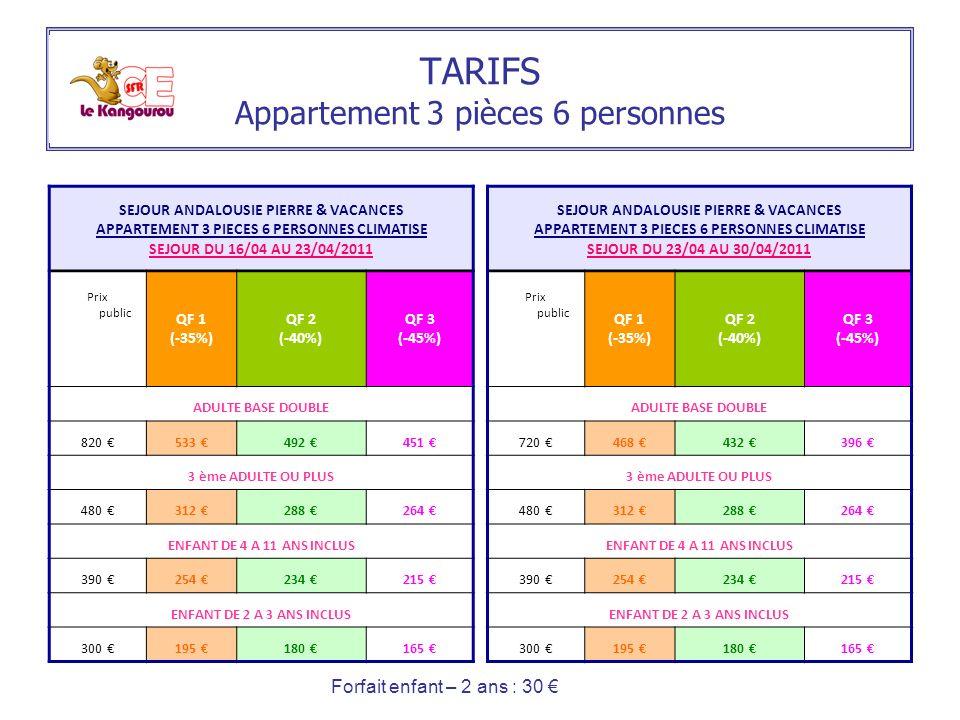 TARIFS Appartement 3 pièces 6 personnes