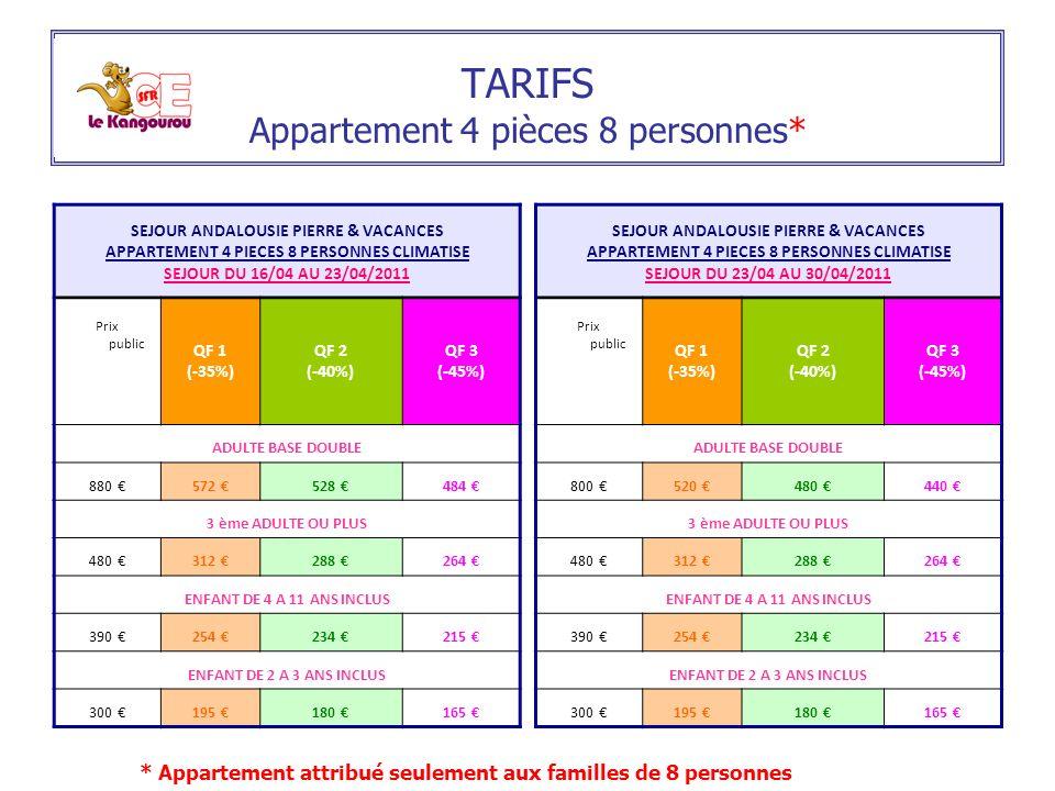 TARIFS Appartement 4 pièces 8 personnes*