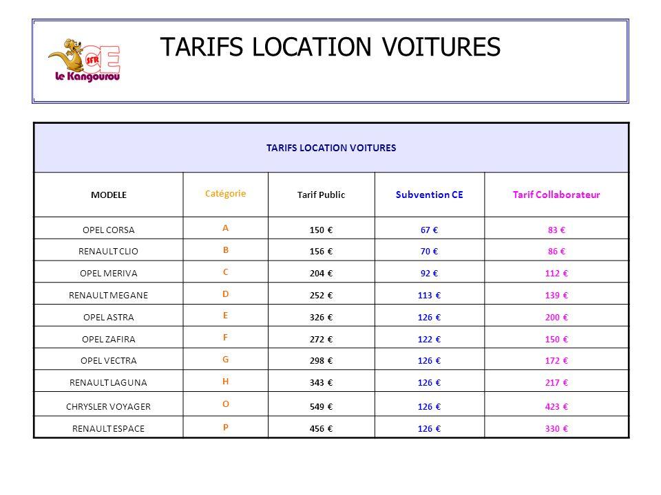 TARIFS LOCATION VOITURES