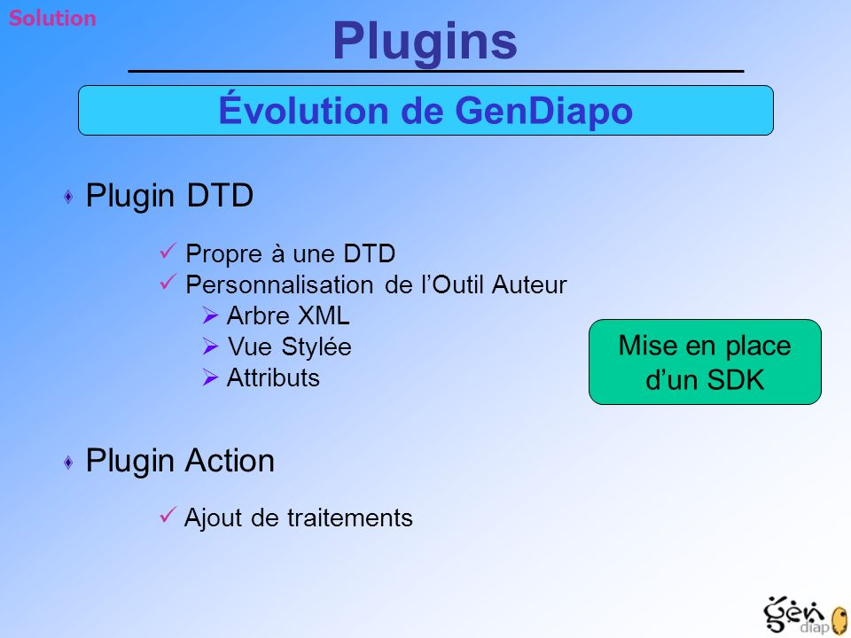 Plugins Évolution de GenDiapo Plugin DTD Plugin Action Mise en place