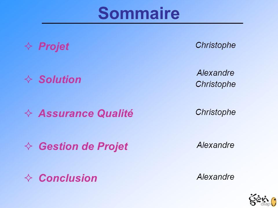 Sommaire Projet Solution Assurance Qualité Gestion de Projet