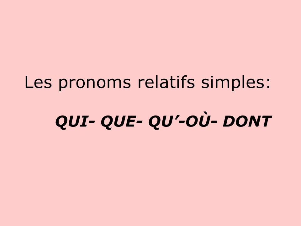 Les pronoms relatifs simples: QUI- QUE- QU'-OÙ- DONT