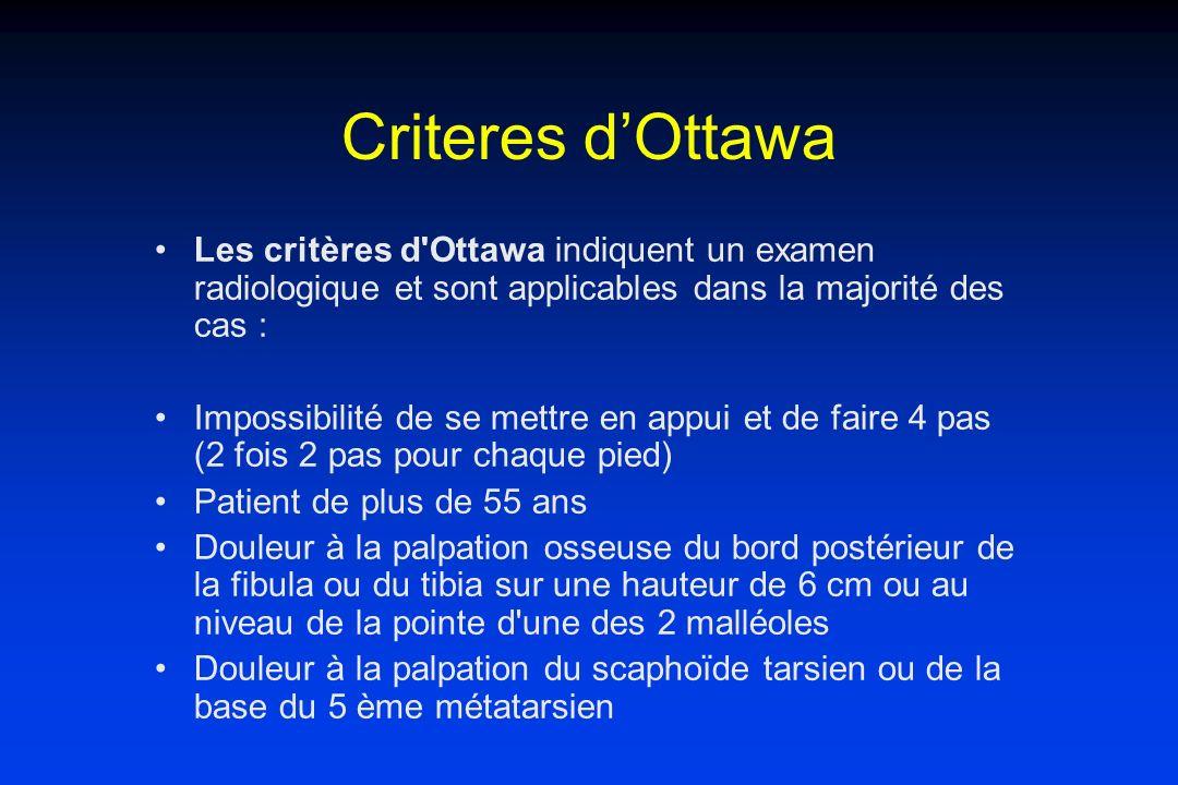 Criteres d'Ottawa Les critères d Ottawa indiquent un examen radiologique et sont applicables dans la majorité des cas :