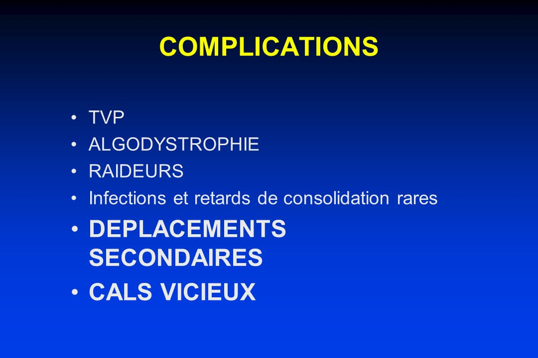 COMPLICATIONS DEPLACEMENTS SECONDAIRES CALS VICIEUX TVP ALGODYSTROPHIE