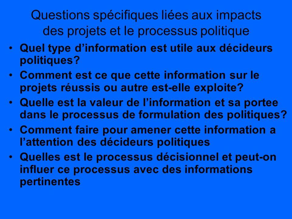 Questions spécifiques liées aux impacts des projets et le processus politique