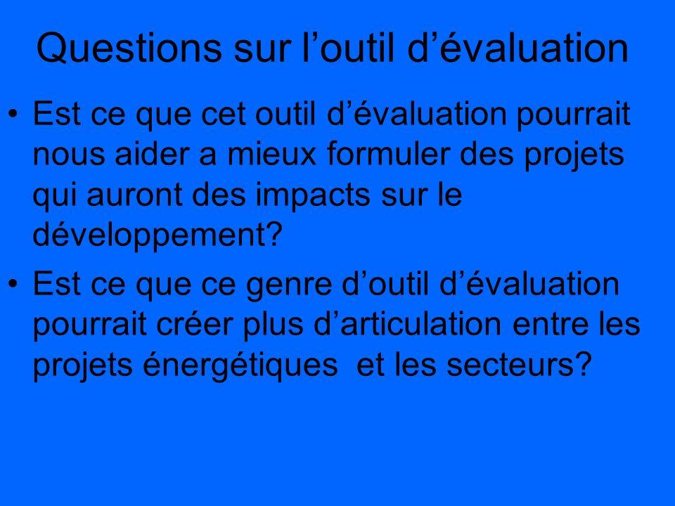 Questions sur l'outil d'évaluation
