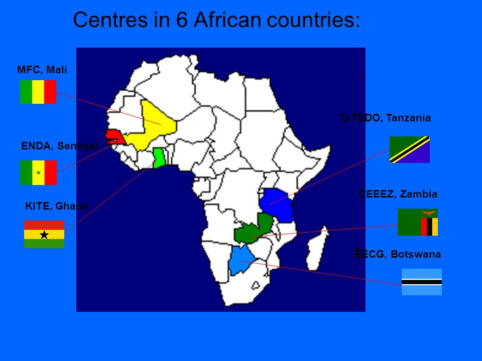 Centres in 6 African countries: