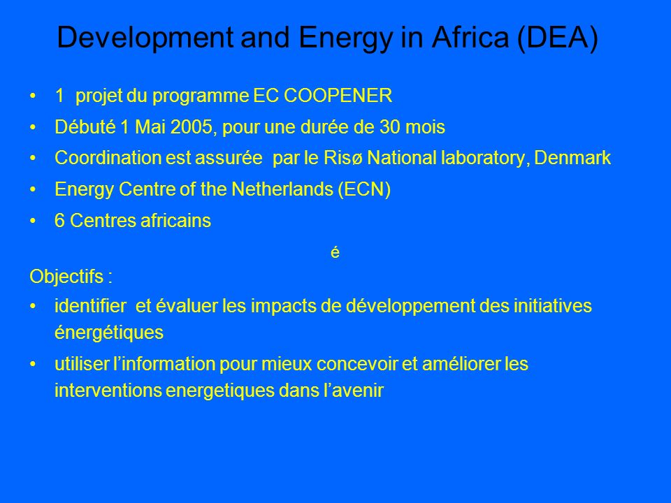 Development and Energy in Africa (DEA)