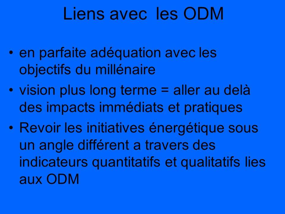 Liens avec les ODM en parfaite adéquation avec les objectifs du millénaire.