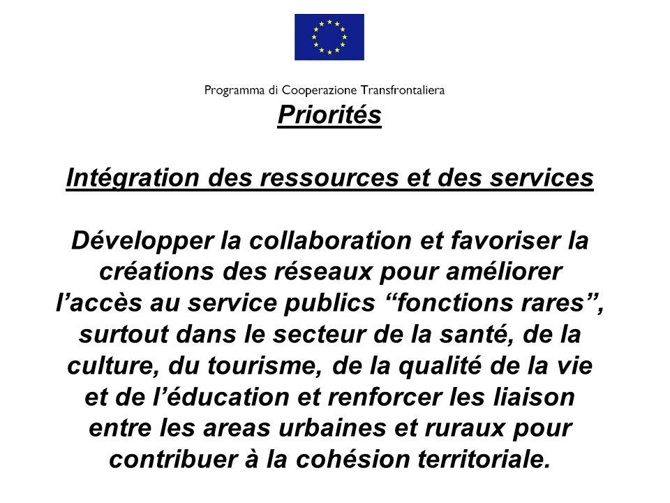 Priorités Intégration des ressources et des services Développer la collaboration et favoriser la créations des réseaux pour améliorer l'accès au service publics fonctions rares , surtout dans le secteur de la santé, de la culture, du tourisme, de la qualité de la vie et de l'éducation et renforcer les liaison entre les areas urbaines et ruraux pour contribuer à la cohésion territoriale.