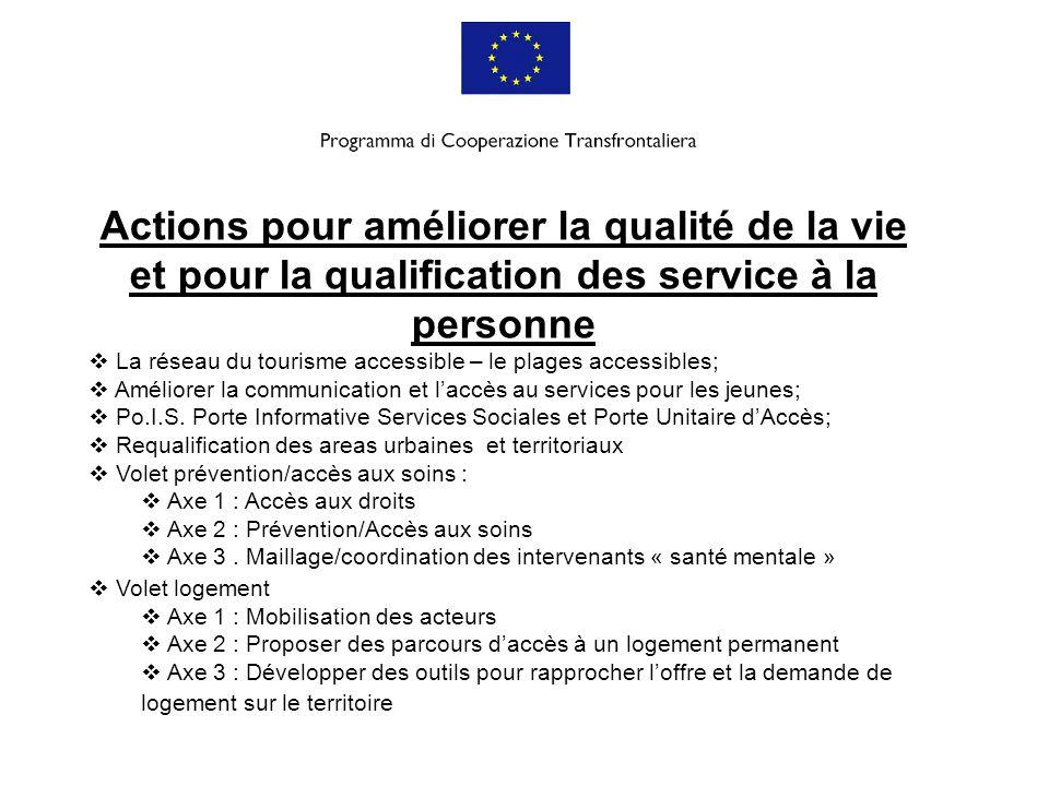 Actions pour améliorer la qualité de la vie et pour la qualification des service à la personne
