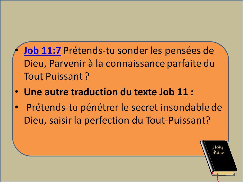 Job 11:7 Prétends-tu sonder les pensées de Dieu, Parvenir à la connaissance parfaite du Tout Puissant