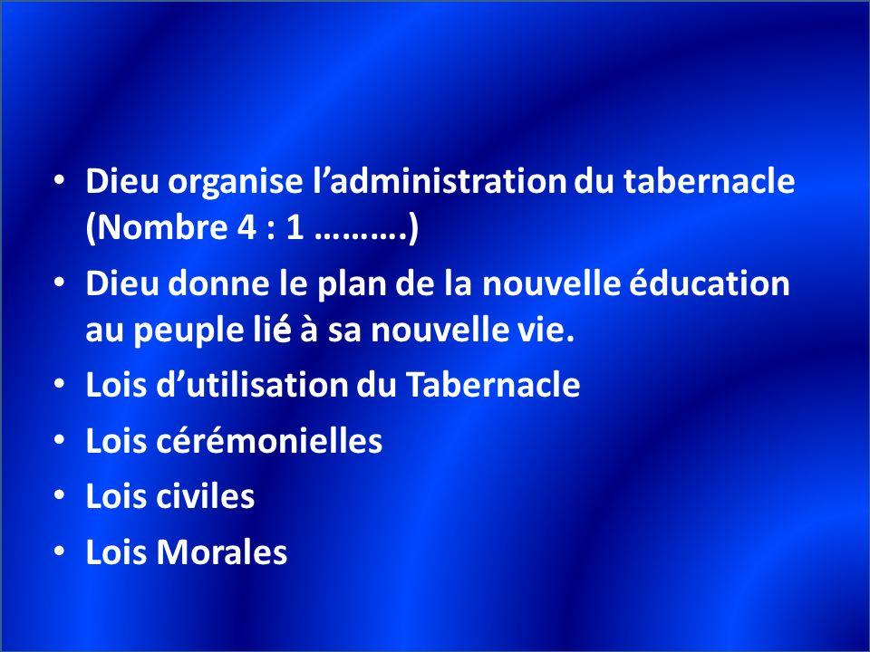 Dieu organise l'administration du tabernacle (Nombre 4 : 1 ……….)