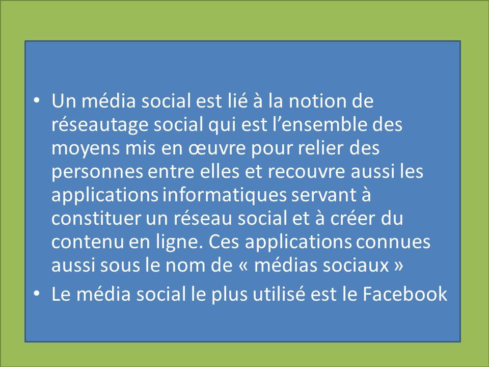 Un média social est lié à la notion de réseautage social qui est l'ensemble des moyens mis en œuvre pour relier des personnes entre elles et recouvre aussi les applications informatiques servant à constituer un réseau social et à créer du contenu en ligne. Ces applications connues aussi sous le nom de « médias sociaux »