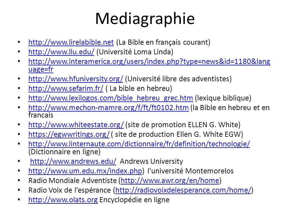 Mediagraphie http://www.lirelabible.net (La Bible en français courant)