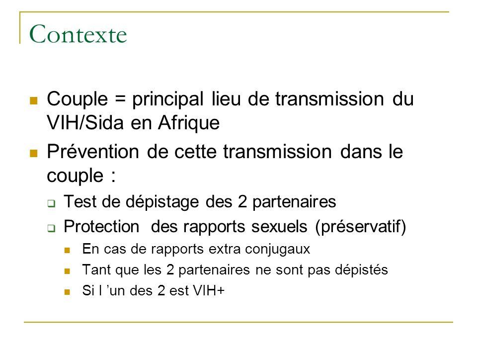 Contexte Couple = principal lieu de transmission du VIH/Sida en Afrique. Prévention de cette transmission dans le couple :