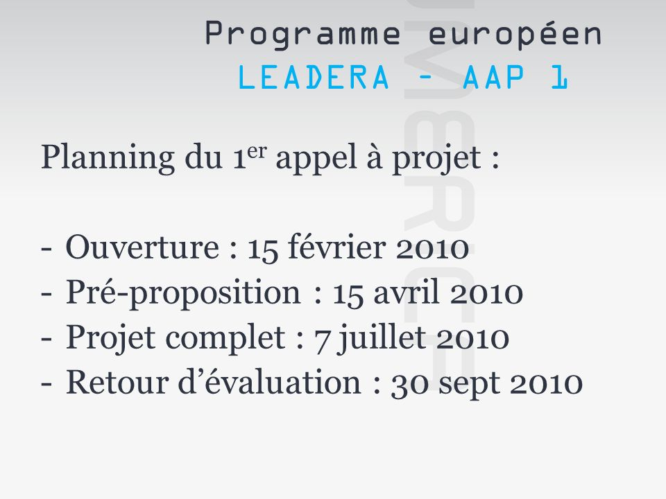 Programme européen LEADERA – AAP 1