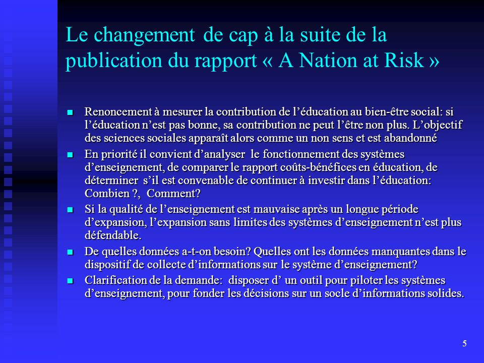 Le changement de cap à la suite de la publication du rapport « A Nation at Risk »