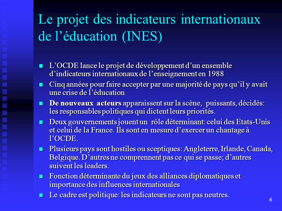 Le projet des indicateurs internationaux de l'éducation (INES)