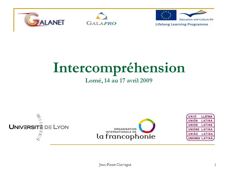 Intercompréhension Lomé, 14 au 17 avril 2009