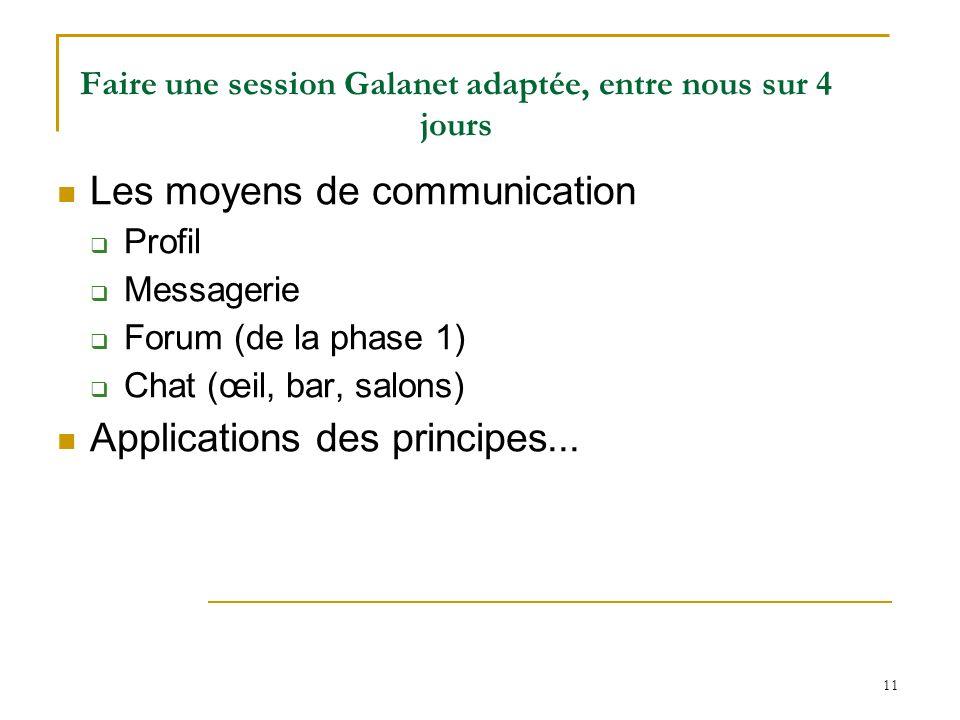 Faire une session Galanet adaptée, entre nous sur 4 jours