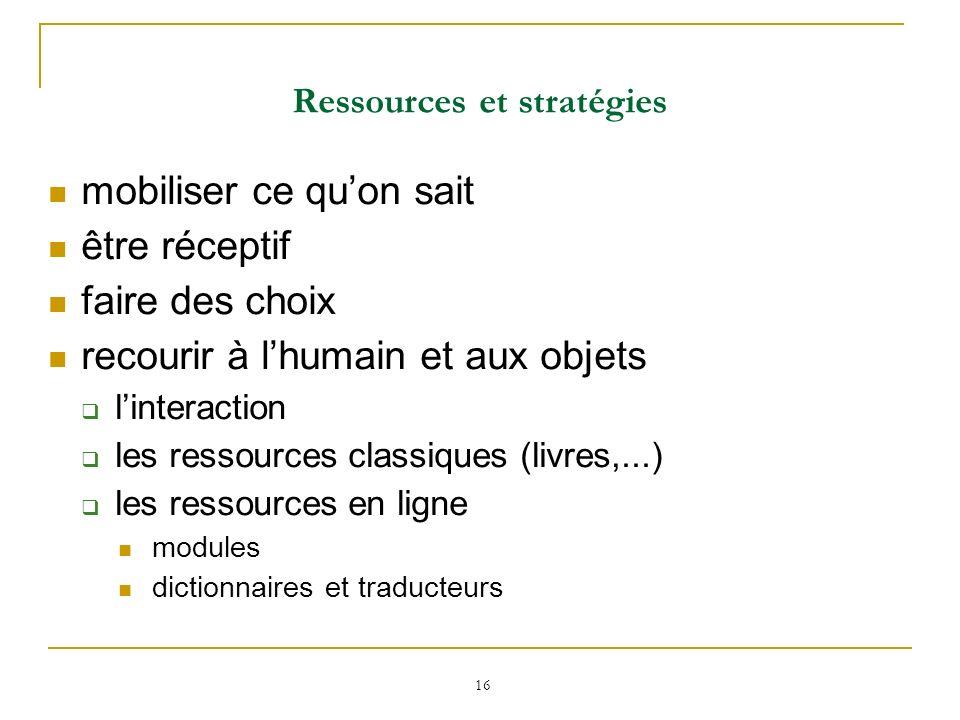 Ressources et stratégies