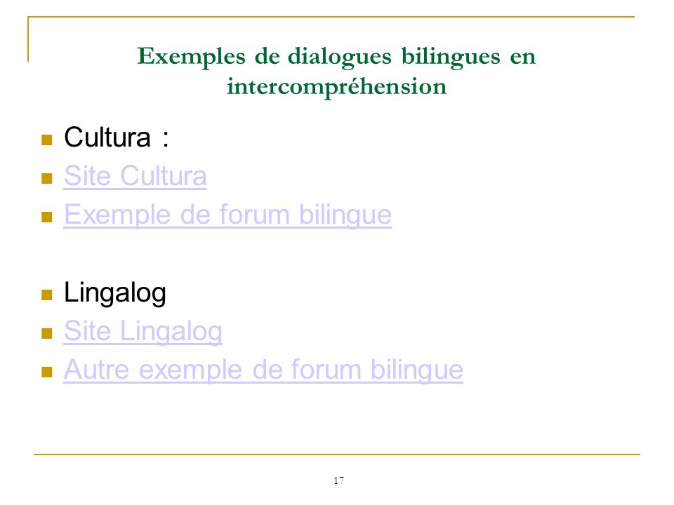 Exemples de dialogues bilingues en intercompréhension