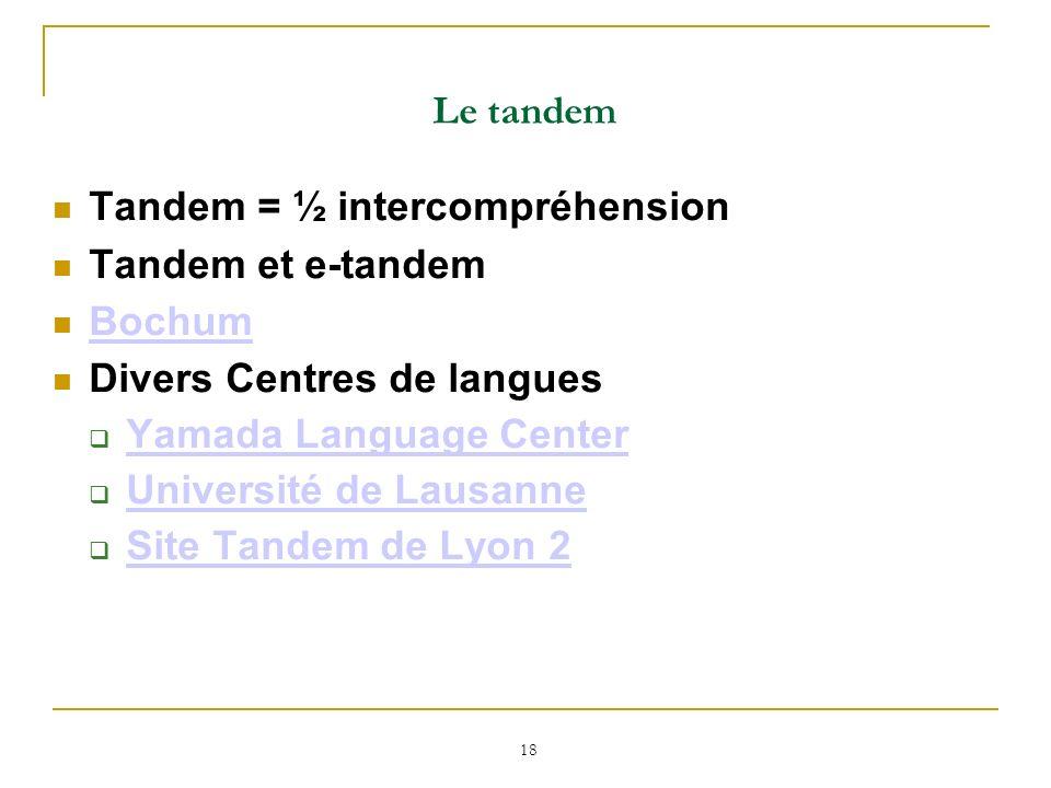 Le tandemTandem = ½ intercompréhension. Tandem et e-tandem. Bochum. Divers Centres de langues. Yamada Language Center.