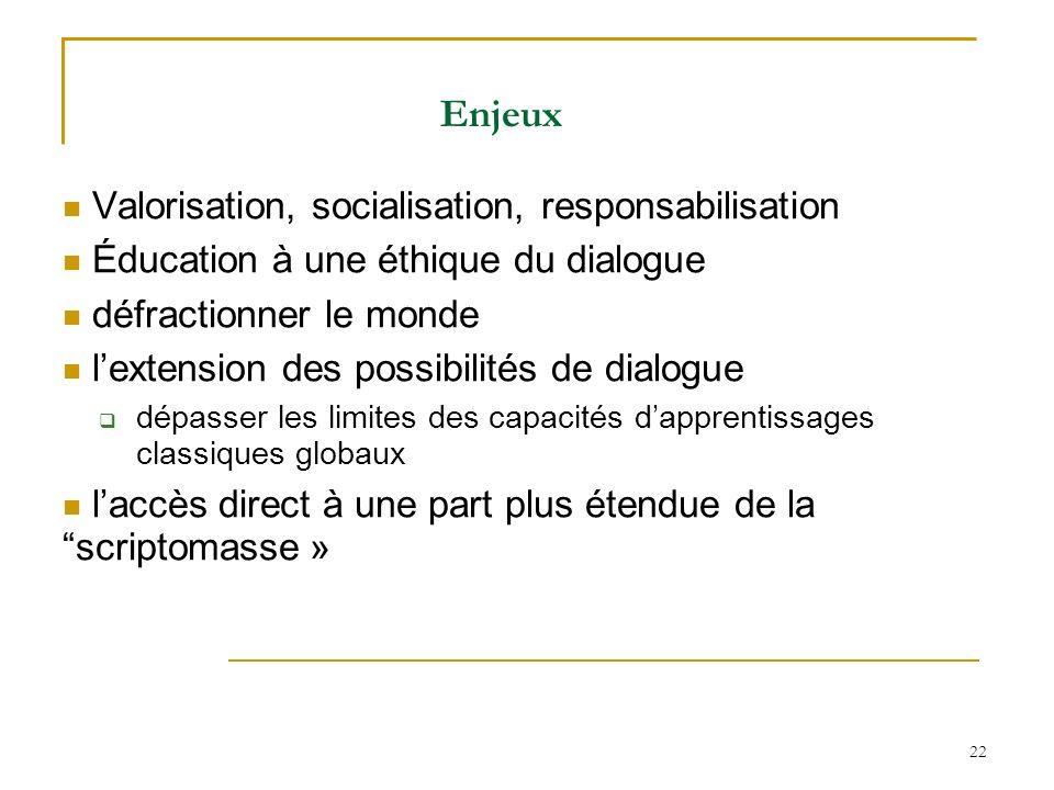 Enjeux Valorisation, socialisation, responsabilisation