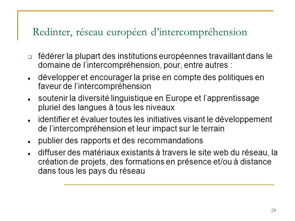 Redinter, réseau européen d'intercompréhension