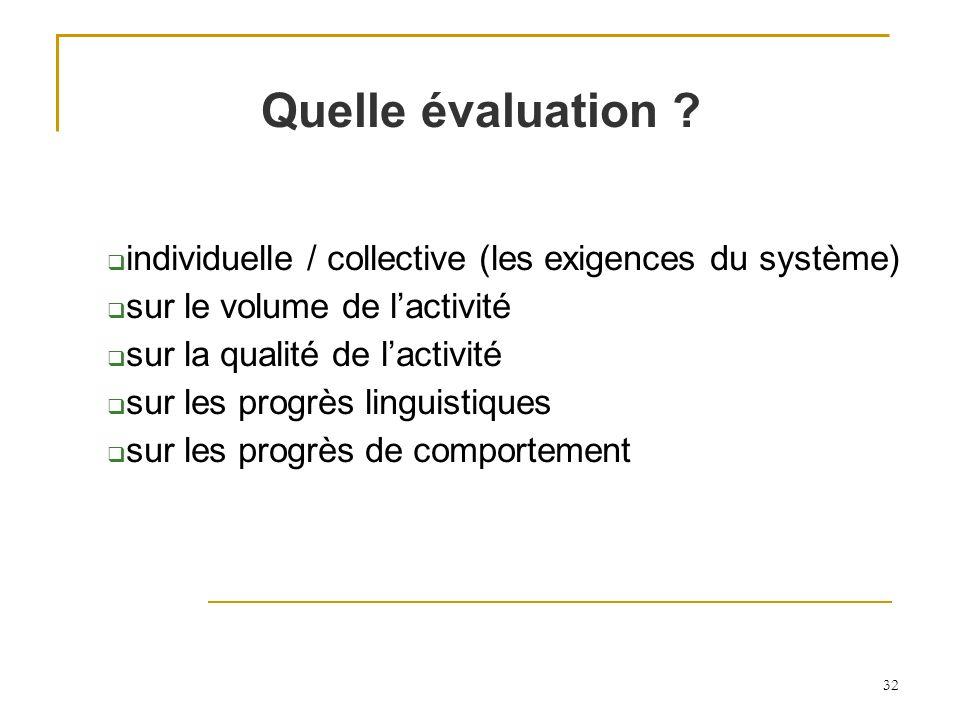 Quelle évaluation individuelle / collective (les exigences du système) sur le volume de l'activité.